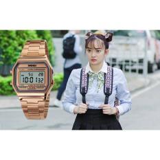 Đồng hồ điện tử nữ Skme DO45 chống nước 30m có đèn ban đêm và báo thức dây thép không gỉ