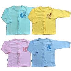 Combo 5 áo sơ sinh tay dài màu hình thú Thái Hà Thịnh