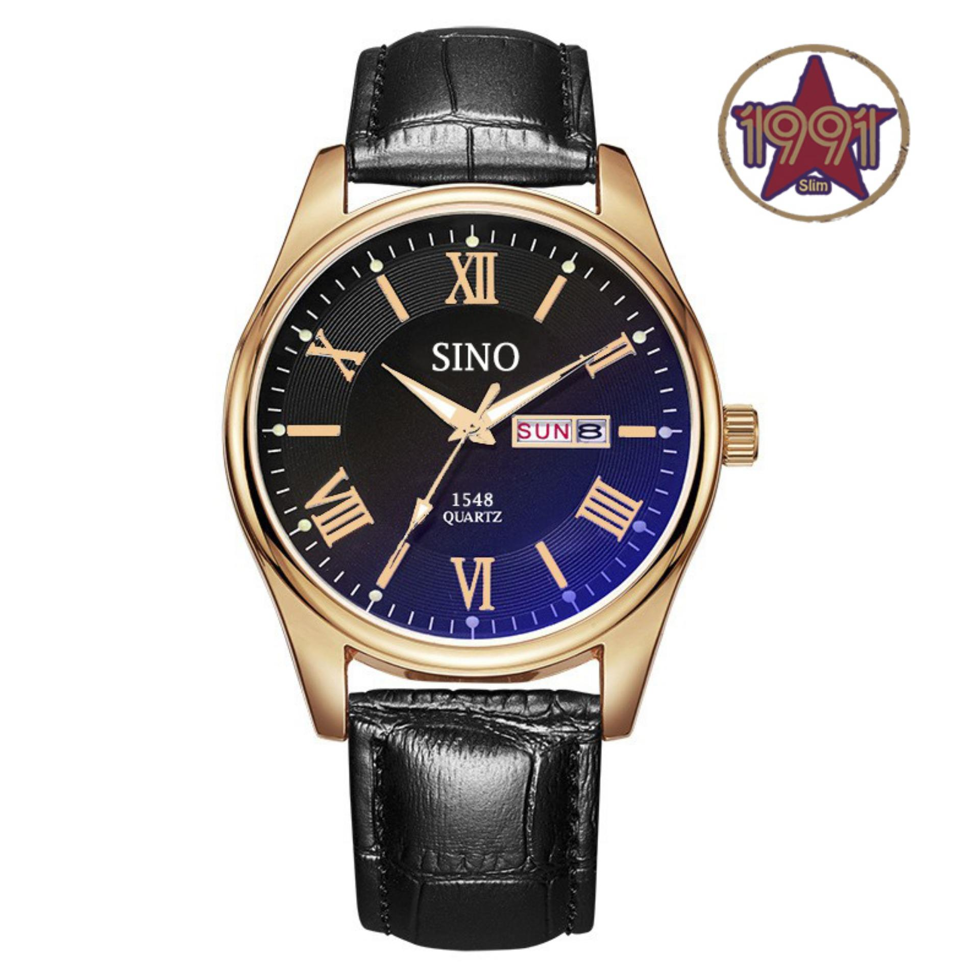 Đồng hồ nam dây da cao cấp Sino Japan Movt rose gold S1548