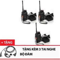 Bộ 3 Bộ đàm Baofeng 888s (Đen) +Tặng 3 tai nghe bộ đàm