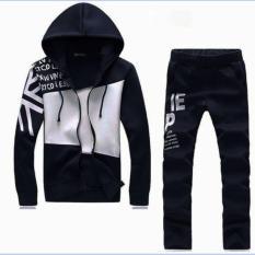 Set quần áo nam dài tay khóa kéo phối màu thời trang Xưởng May giá rẻ MEN QA 10016 (đen)
