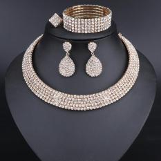 Bộ trang sức 4 món/Vòng cổ, vòng tay, nhẫn, bông tai đính đá