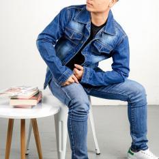 áo khoác jean nam A85 xanh trơn