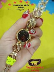 Đồng hồ Nữ Halei dây thép thời thượng TẶNG 1 vòng tỳ hưu phong thủy – Dây vàng mặt đen