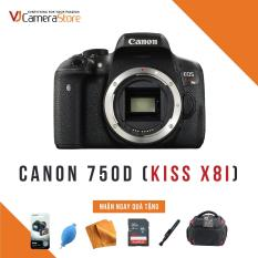 Canon EOS 750D (Kiss x8i) – Nhập khẩu Japan – Tặng kèm thẻ nhớ 32gb, túi Canon Focus, bóng thổi, khăn lau, bút lau, dán màn hình