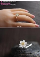 Nhẫn nữ trang sức bạc Ý S925 Bạc Xinh Huệ Ngân – Hoa sen trắng RR1385