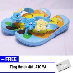 Dép xỏ ngón bông hoa bé gái cao cấp Latoma TA1174 (Xanh )+ Tặng kèm thẻ ưu đãi Latoma