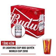 Budweiser lon 330ml – Thùng 24 – Tặng ngay 01 Lighting Cup Độc Quyền World Cup 2018