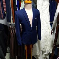 Bộ vest nam màu xanh đen chất vải dày mịn dáng ôm