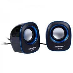 Loa Vi Tính SoundMax A-130 2.0 6W – Đen viền xanh