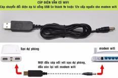 Cáp chuyển đổi điện áp từ cổng USB 5V sang 9V/12V (sử dụng khi bộ phát wifi mất điện)
