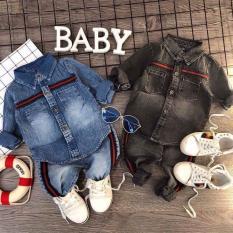 Đồ bộ jean bò dài tay thu đông phong cách mới cho bé trai và bé gái từ 8kg đến 22kg( Màu xanh và xám)