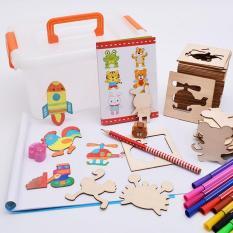 Bộ khuôn vẽ cho trẻ em: 48 chi tiết hoạt hình + Bút chì + Gọt bút chì + 12 bút màu KamiHome vận chuyển