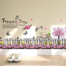 Decal trang trí dán tường hàng rào hoa bướm lãng mạn XL7080-decalchantuong
