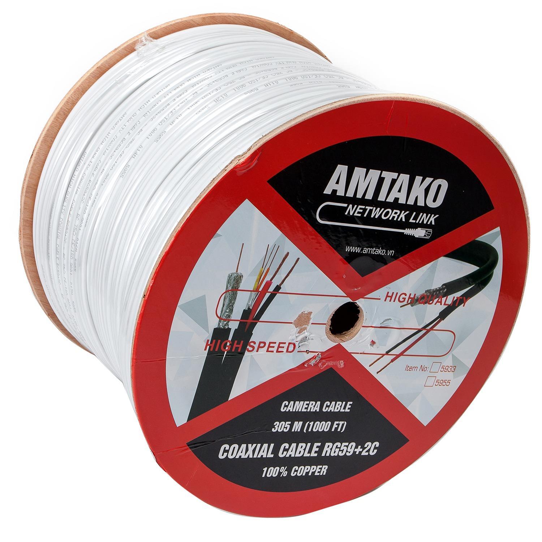 Cuộn cáp Camera (cáp đồng trục liền dây nguồn) AMTAKO 5955 dây màu trắng 200m