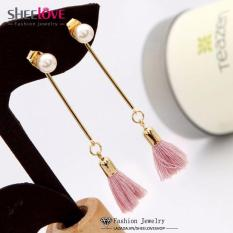 Bông tai nữ dáng dài ngọc trai tua rua thời trang HKE-D760