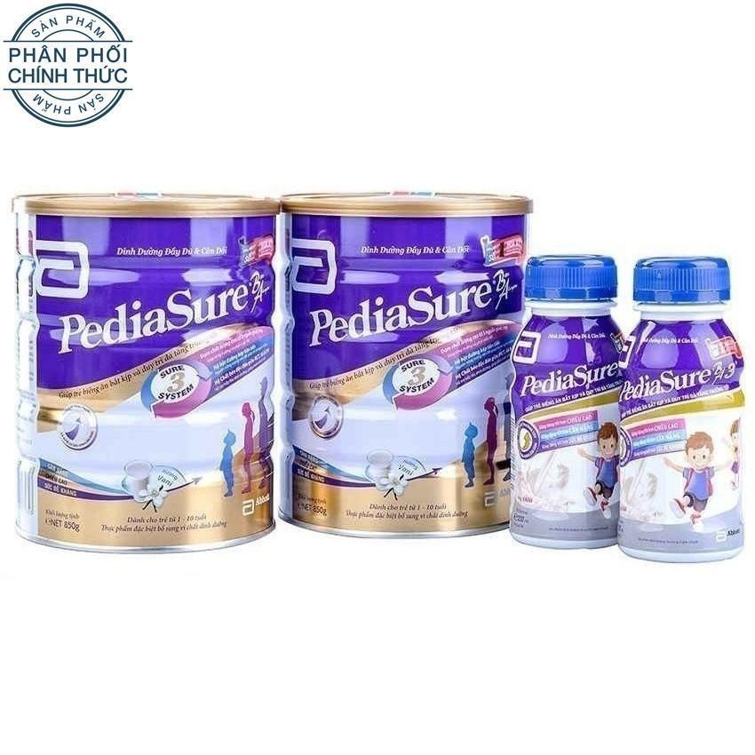 Combo Pediasure tiết kiệm gồm 2 lon sữa bột Pediasure B/A 850G + 2 chai Pediasure BA 3+ 237ml