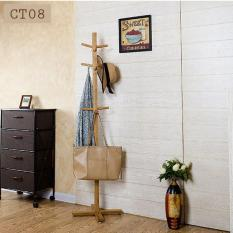 Wooden Coat Rack Free Standing, with 12 Hooks Lacquered Pine Wood Tree Coat Rack Stand for Coats, Hats, Scarves, Clothes, and Handbags