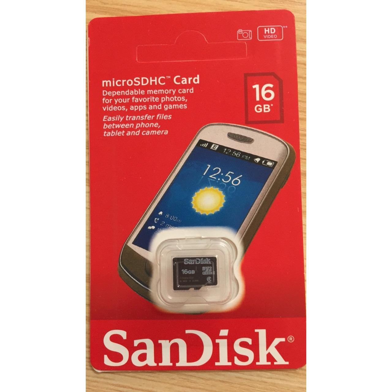 Thẻ nhớ micro sd sandisk class 10,16gb chuẩn dung lượng