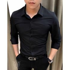 Áo sơ mi nam đen trơn dài tay công sở FAJA, dáng ôm body Hàn Quốc vải chống nhăn cao cấp