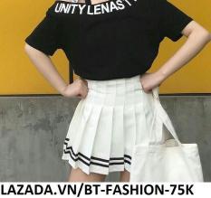 Chân Váy Ngắn Xếp Ly Lưng Cao Thời Trang Hàn Quốc – BT Fashion VA025 (Phối Viền – Trắng)