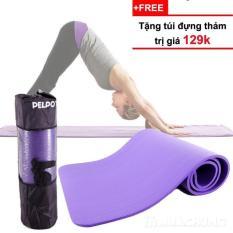 Thảm Tập Yoga TPE Cao Cấp Nhập Khẩu Hàn Quốc Tặng Kèm Túi Đựng Và Dây Buộc Thảm (Dày 10mm)