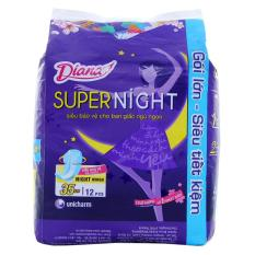 Băng vệ sinh ban đêm Diana siêu bảo vệ 35cm có cánh gói 12 miếng