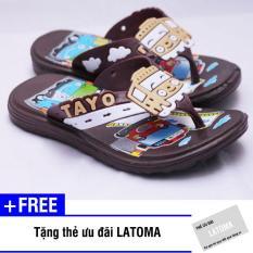 Dép xỏ ngón bé trai TAYO cao cấp Latoma TA1212 (Nâu)+ Tặng kèm thẻ ưu đãi Latoma
