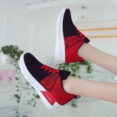 Giày sneaker nữ TESXO 2 màu kết hợp HAPLI (xám pha hồng nhạt)