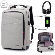 Balo laptop thời trang Hàn Quốc KORE có khe cắm sạc + dây kết nối + lỗ luồn tai nghe vừa laptop 15.6 ich