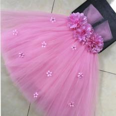 váy hồng cho bé hoa xù hồng + nhí
