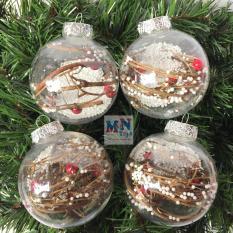 Hộp 4 quả châu 8cm trong suốt trang trí Giáng sinh Noel