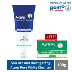 Sữa rửa mặt dưỡng trắng và ngăn ngừa mụn Acnes Pure White 100g + Tặng Giấy thấm dầu Acnes 50 tờ