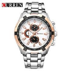 Đồng hồ nam Curren 8023 mặt trắng viền hồng