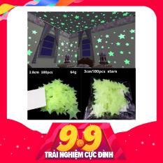 100 Ngôi Sao Dán Tường Dạ Quang 3cm phát sáng trong đêm- MÀU Xanh lá cây