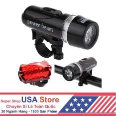 Bộ đèn pin gắn xe đạp và đèn chiếu hậu 5 LED WJ-101 (Đen đỏ)[Free Ship]