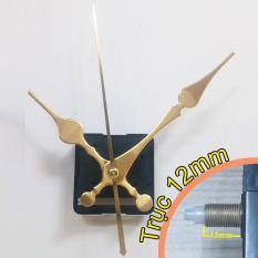 Bộ kim vàng 12cm và Máy đồng hồ treo tường Taiwan loại tốt – Kim trôi trục 12mm