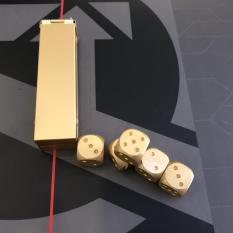 Hộp nhôm 05 viên xí ngầu kim loại (Aluminium Dice Set)(Vàng Gold)