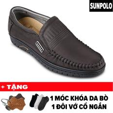 Giày mọi nam da bò SUNPOLO LS3028N (Nâu) + Tặng Móc Khóa Da Bò + 1 Đôi Vớ Cổ Ngắn