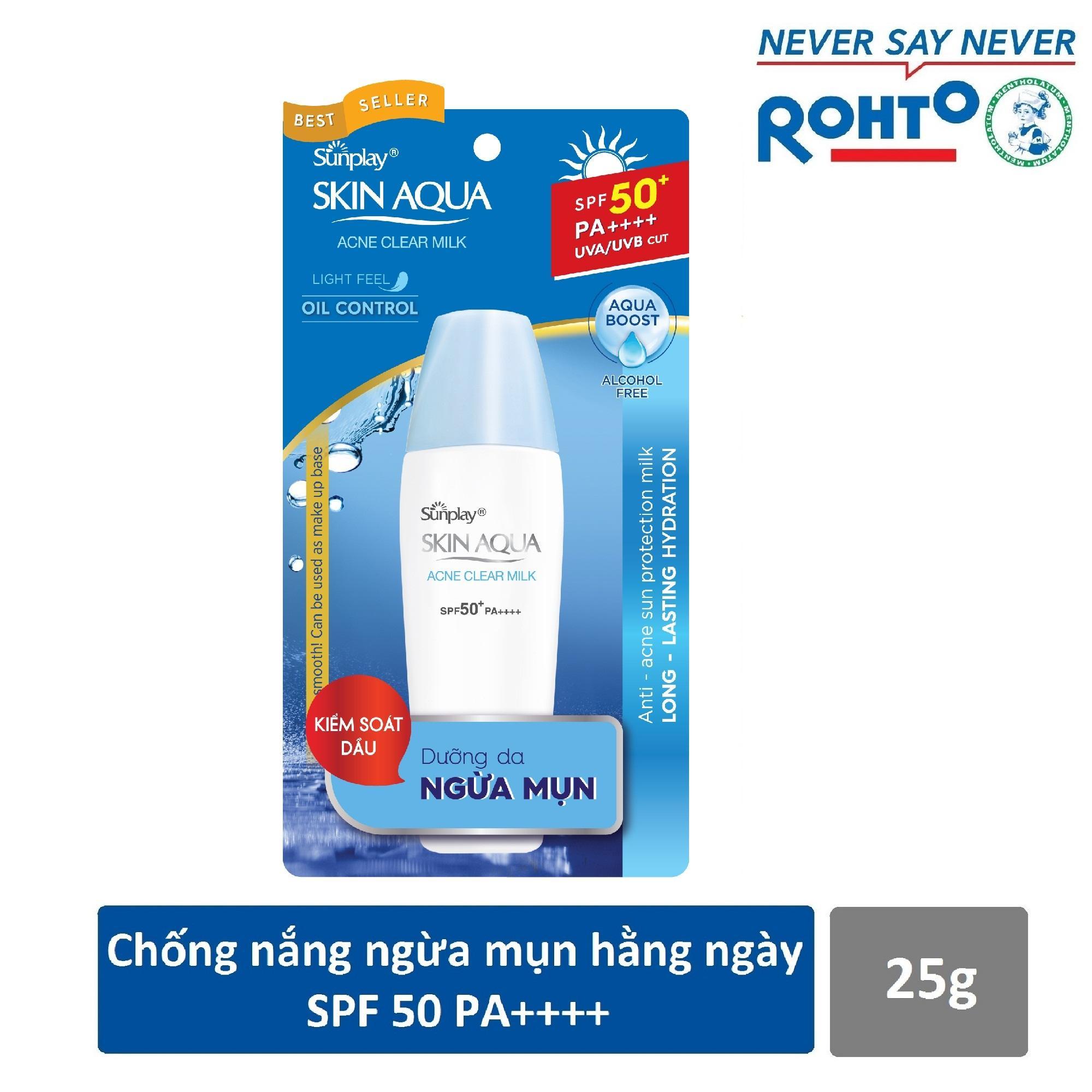 Sữa chống nắng dưỡng da ngừa mụn Sunplay Skin Aqua Acne Clear SPF 50+ PA++++ 25g