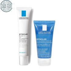 Bộ đôi Kem dưỡng giảm mụn thông thoáng lỗ chân lông và ngừa thâm La Roche Posay Effaclar Duo+ 40ml và Gel rửa mặt dành cho da dầu mụn Effaclar gel 50ml