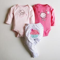 Set body suit Beliti dài tay 3 chi tiết hàng xuất dư cho bé gái 0-12 tháng