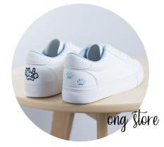 (hàng cao cấp) Giày thể thao nữ thêu mèo xinh xắn (mèo gót xanh)