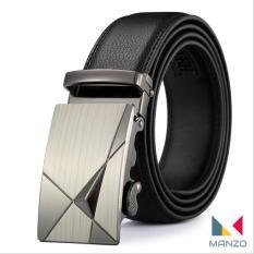 Dây nịt- Thắt lưng nam da cao cấp khóa tự động cao cấp, mặt kim loại phay Manzo 202, BH 1 năm