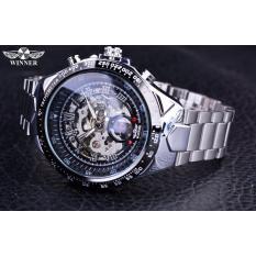 Đồng hồ nam Winner TM432 cơ lộ máy đính đá dây thép không gỉ (Đen)
