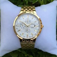 Đồng hồ nam Baishuns khung thép mặt trắng dây xích mạ vàng cao cấp hot 2018