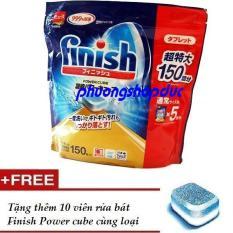 Viên rửa bát Nhật Bản Finish Power Cube ( túi 150 viên tổng hợp bột muối bóng)tđ somat alio dành cho máy rửa bát,tặng 10v finish cùng loại