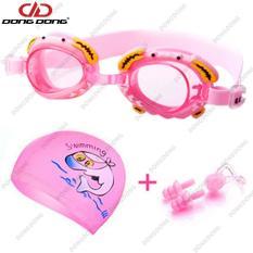 Bộ kính bơi trẻ em 4700 – PINK, gồm Nón mũ bơi, Bịt tai kẹp mũi, đồ bơi cho bé cao cấp – DONGDONG