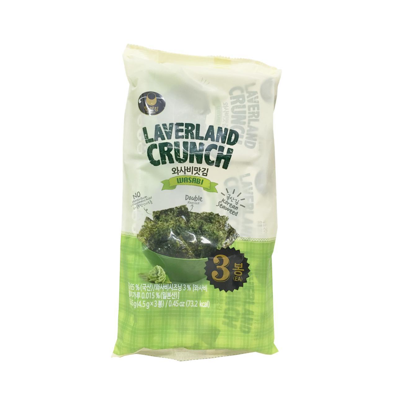 Rong biển HQ Laverland Crunch Vị Wasabi 13.5g ( 3gói * 4.5g )