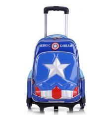 Ba lô kéo lướt trên mọi địa hình 6 bánh xe Captain America Học sinh tiểu học Tặng áo trùm cặp
